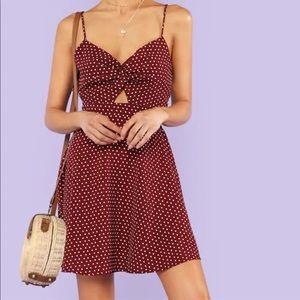Twist Front Polka Dot Dress